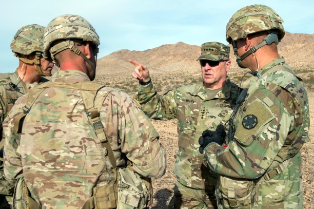 U.S. Army Chief of Staff, Gen. Mark A. Milley, visits the U.S. Army National Training Center, Ft. Irwin, Calif., Nov. 6, 2016.